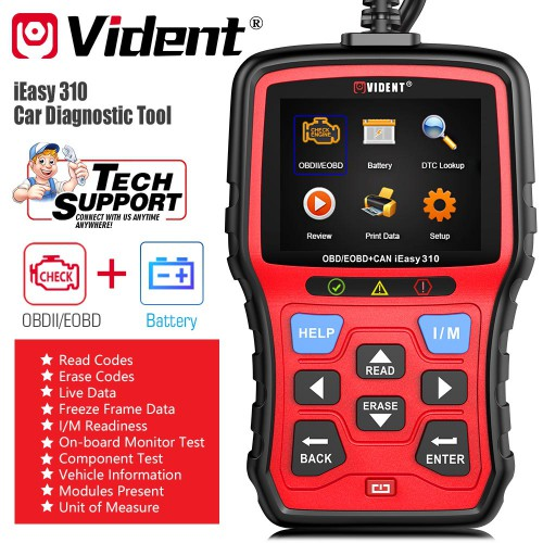 (Ship from US) Vident iEasy310 OBD2 Scanner Code Reader with Battery Test Update Online Multi-Language
