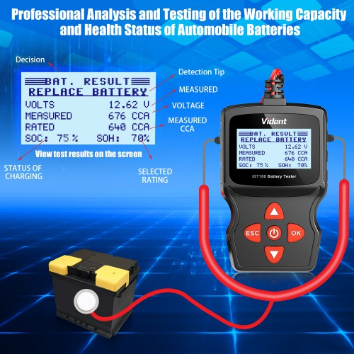 (Fast Ship from US) Vident iBT100 12V Automotive Battery Tester Analyzer for Flooded, AGM,GEL 100-1100CCA Batteries
