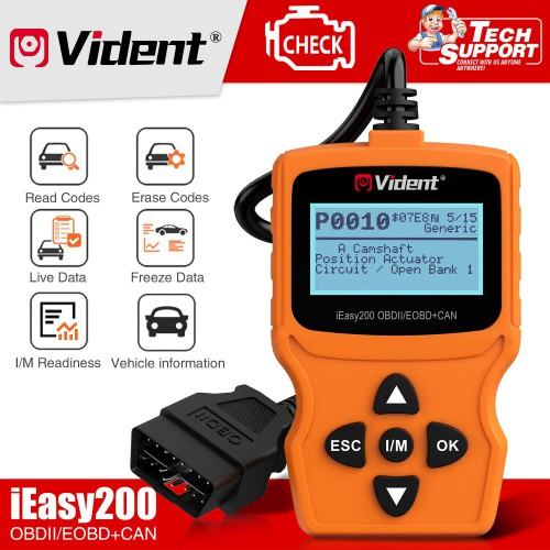 (Ship from US) VIDENT iEasy200 OBDII/EOBD+CAN Fault Code Reader Scan Tool Multi-Language